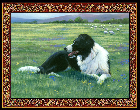 Border Collie Tapestry Placemats Set of Five