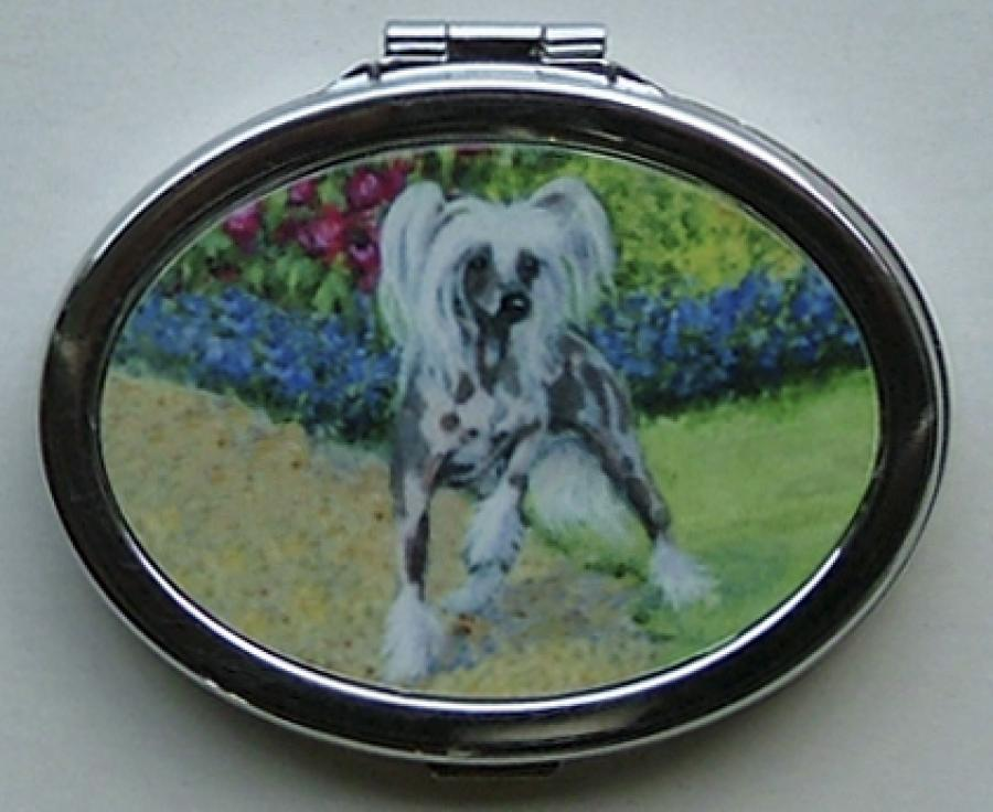 Chinese Crested Picture Oval Compact Mirror #1B