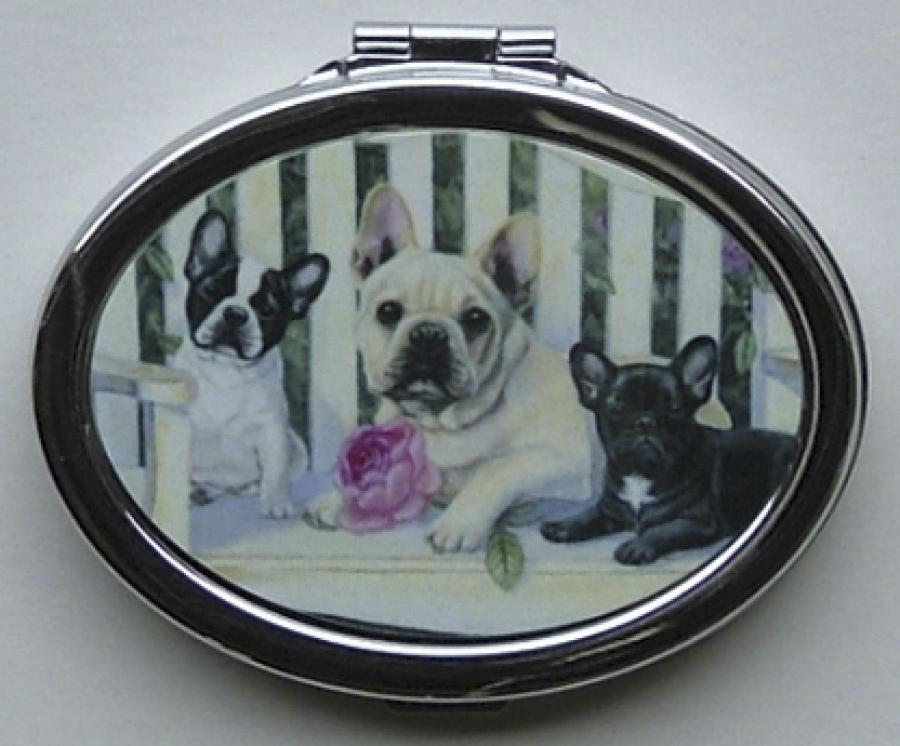 French Bulldog Picture Oval Compact Mirror #6