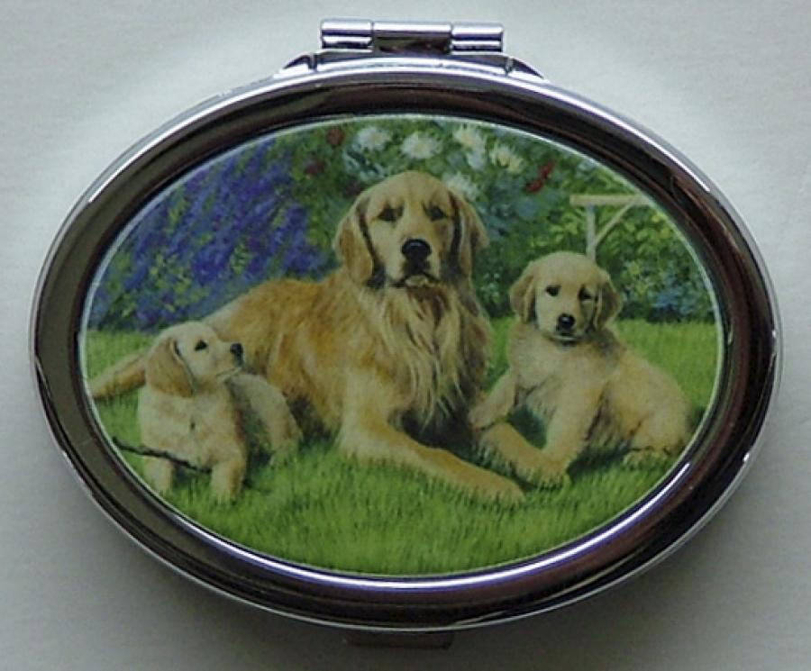 Golden Retriever Oval Compact Mirror #1