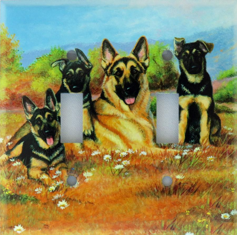 German Shepherd Picture Double Light Switch Plate #3A