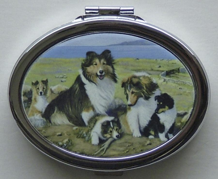 Sheltie Oval Compact Mirror #3