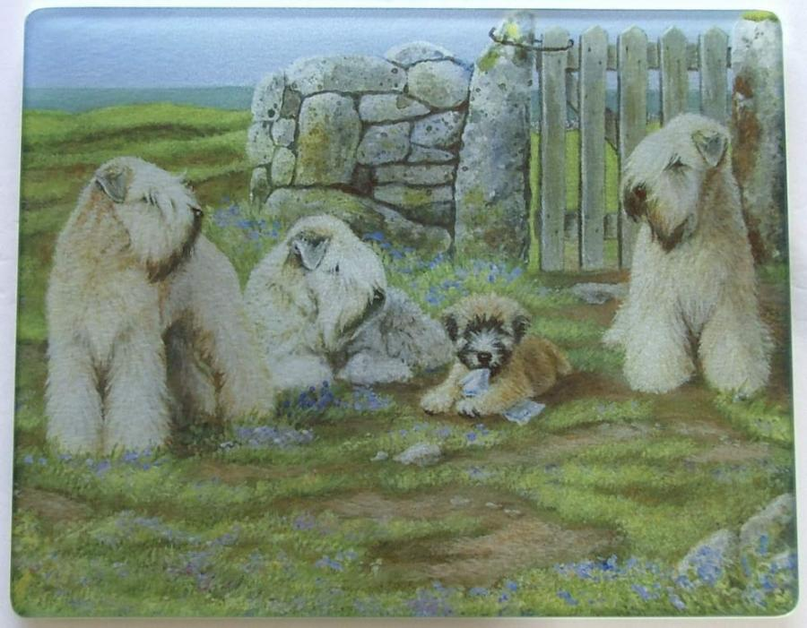 Wheaten Terrier 2 Tempered Glass Cutting Board