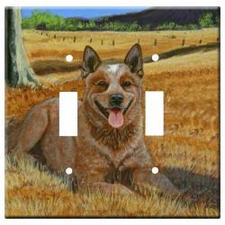 Australian Cattle Dog 1B Double Light Switch Plate