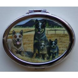 Australian Cattle Dog 1B Oval Compact Mirror