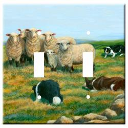 Border Collie Picture Double Light Switch Plate #4A