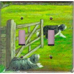 Bearded Collie 2A Double Light Switch Plate