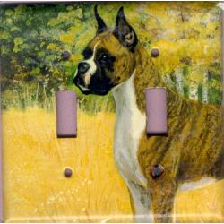 Boxer Picture Double Light Switch Plate #1B