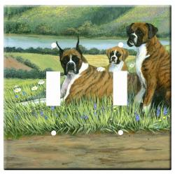 Boxer Picture Double Light Switch Plate #3B