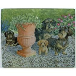 Dachshund 3 Tempered Glass Cutting Board