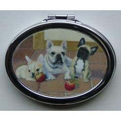 French Bulldog Picture Oval Compact Mirror #1A