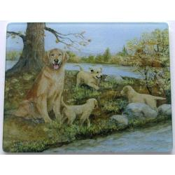 Golden Retriever 3 Tempered Glass Cutting Board
