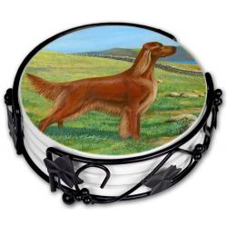 Irish setter coaster set