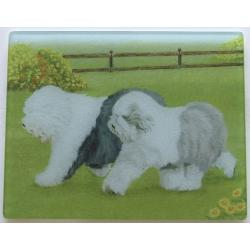 Old English Sheepdog Tempered Glass Cutting Board 2