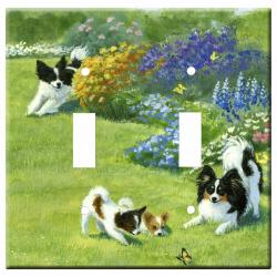 Papillon Picture Double Light Switch Plate #1A