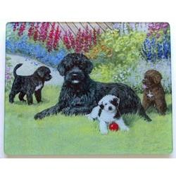 Portuguese Water Dog 4 Tempered Glass Cutting Board