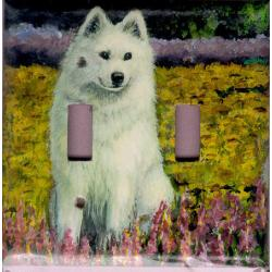 Samoyed Picture Double Light Switch Plate #1A
