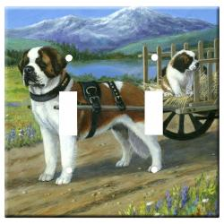 St Bernard Picture Double Light Switch Plate #3A