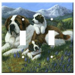 St Bernard Picture Double Light Switch Plate #4A