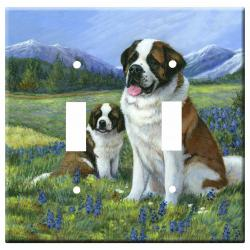 St Bernard Picture Double Light Switch Plate #5A