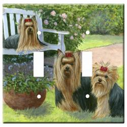 Yorkie Picture 1A Double Light Switch Plate